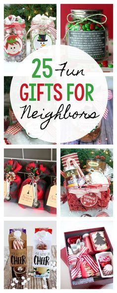 25 Fun Gifts for Neighbors and Friends this Christmas gifts 25 Fun & Simple Gifts for Neighbors this Christmas Diy Gifts For Christmas, Neighbor Christmas Gifts, Neighbor Gifts, Christmas Holidays, Christmas Presents For Neighbors, Christmas Carol, Christmas Decorations, Friends Christmas Gifts, Diy Christmas Baskets