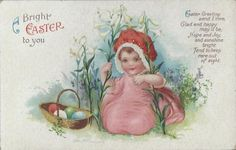 MARAVILHOSO+Postcard-Easter-Clapsaddle-Wolf-600-Baby-in-flower.jpg (1096×700)