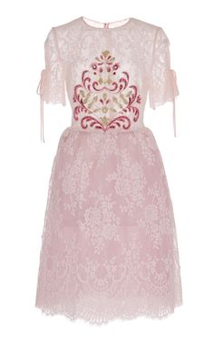 This **Georges Hobeika** lace dress features short sleeves with tie detail, embellishment detail on bodice, and a scalloped hem. Georges Hobeika, Simple Dresses, Party Wear, Lace Dress, Cute Outfits, Girly, Gowns, Clothes For Women, My Style