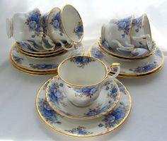 Royal Albert Blue Moonlight Roses 6 Trios (Cup, Saucer, Plate) 1st England 1987