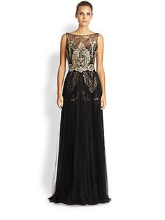 Notte by Marchesa Pleated Lace & Tulle Gown  995.00...Preternaturally pretty, an elegant floor-length design rendered with layers of sheer tulle and ornate lace appliqués.