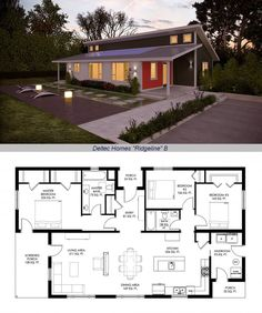 "Deltec Homes, Renew Collection, ""Ridgeline"" (B) 1604sf ~ Passive solar layout, vaulted ceilings & high clerestory windows. Uses 2/3 less energy than typical home, can achieve net-zero energy. Shell price $72,466 - $81,366 (South/North): Pre-painted Allura fiber cement siding, window & door package, floor system, advanced wall system & energy modeling for your climate. *See completed Ridgeline: http://www.deltechomes.com/an-update-on-the-first-renew-collection-home/"