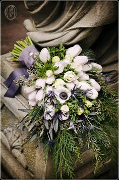 GORGEOUS Wedding Bouquet Arranged With: Blue Eryngium Thistle, White Tulips, White Anemones, Green Seeded Eucalyptus, Evergreen Foliage + Several Additional Varieties Of Greenery/Foliage Hand Tied With Gray Ribbons ~~