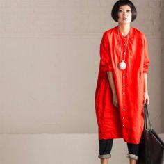 Art Casual Loose Big Size Long Linen Dress Shirt Women Tops C8923A