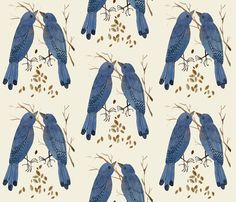 bluebirds natural by gollybard, click to purchase fabric