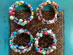 African Summer Fair Trade Paper Bead Bracelets by LOT2545 on Etsy, $10.00