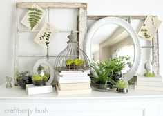 Windows and frames, birds and cloches, paper and glass, moss and ferns, love and love!