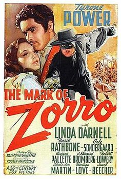 Poster for Mark of Zorro starring Tyrone Power and Linda Darnell