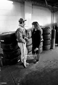 and his wife, Teresa Earnhardt, have a personal conversation alone in the Daytona International Speedway garage prior to the start of the 1982 Daytona 500 on February 1982 in Daytona Beach, Florida. Dirt Track Racing, Nascar Racing, Auto Racing, Dale Earnhardt Chevrolet, Dale Earnhardt Jr, Daytona 500, Daytona Beach, Teresa Earnhardt, Late Model Racing