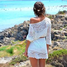 Summer sexy women's crochet lace beach dress white bikini swimwear cover up ladies hollow beachwear cover up Crochet Beach Dress, Crochet Lace, Knit Dress, Smock Dress, Crochet Bikini, Crochet Summer, Crochet Tops, Crochet Style, Crochet Tunic