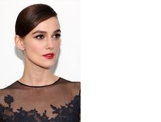 Keira Knightley in a sleek up-do, cat eye makeup, and punchy red lip -- could it get any better? Dark Eye Makeup, Red Lip Makeup, Beauty Makeup, Hair Makeup, Chanel Makeup, Keira Knightley Makeup, Keira Knightley Chanel, Wedding Makeup For Brunettes, Makeup Eyes