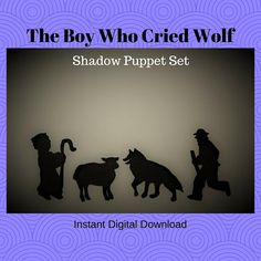 Instant Download The Boy Who Cried Wolf shadow puppet set Wolf Cry, Shadow Theater, Rainy Day Fun, The Orator, Shadow Puppets, Bedtime Stories, Light And Shadow, Kids Decor, Boys Who