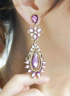 Purple Gemstone Gold Drop Earrings makes me think of Carrie