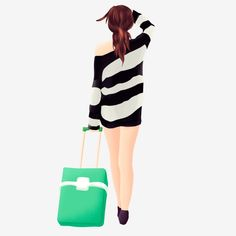 Woman Illustration Element Dragging Suitcase PNG and PSD Late Happy Birthday Wishes, Woman Illustration, Bright Eyes, More Cute, Running Women, Prints For Sale, Silhouettes, Cute Girls, Suitcase
