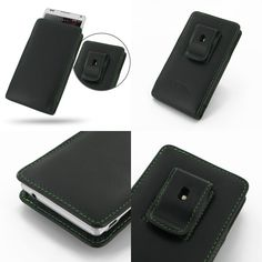PDair Leather Case for Sony Xperia ZL L35H - Vertical Pouch Type Belt Clip Included (Black/Green Stitchings)