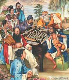 Eight Daoist immortals playing Mahjong -- a traditional Chinese New Year's Painting