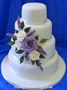 cream & lilac rose & lavender stacked wedding cake – Wedding Cakes With Cupcakes Fondant Wedding Cakes, Wedding Cake Roses, Purple Wedding Cakes, Wedding Cakes With Cupcakes, Wedding Cakes With Flowers, Elegant Wedding Cakes, Beautiful Wedding Cakes, Wedding Cake Designs, Fondant Cakes