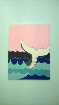 Original 18x24 acrylic painting. Whale tail. $55.00 on LittleElfCrafts via etsy
