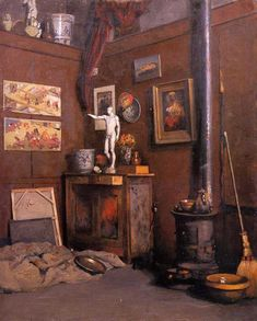 Interior of a Studio with Stove Gustave Caillebotte - circa 1872-1874