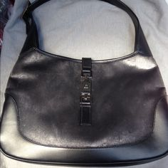 Authentic Jackie O Gucci Handbag This bag is gorgeous and in MINT condition it's large so you can wear it on your shoulder will post more pics silver with black leather trim excellent inside and out  Gucci Bags Shoulder Bags