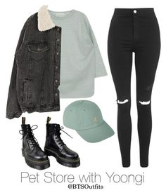 """Pet Store with Yoongi"" by btsoutfits ❤ liked on Polyvore featuring Topshop, Dr. Martens and Polo Ralph Lauren"