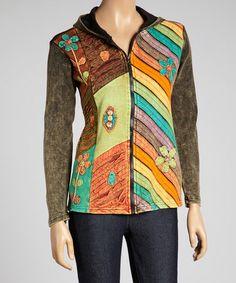 Another great find on #zulily! Brown & Orange Patchwork Flower Appliqué Zip-Up Hoodie #zulilyfinds