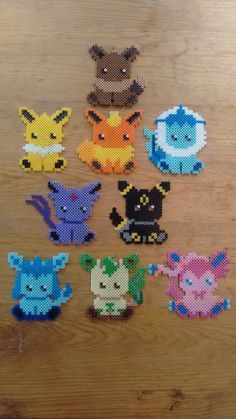 Eeveelution Sprite Magnets set of 9 - Pokemon perler beads by NesPs