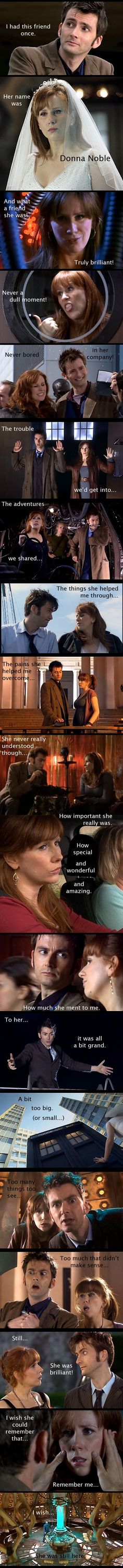 All of the Doctors companions had a huge effect on him but Donna is the only one that will never remember the wonderful times they shared...