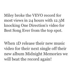 Congrats to Miley who beat the Vevo record! Let's beat the record again when the new single for Midnight Memories comes out!