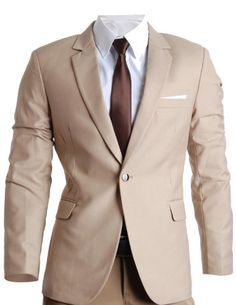 FLATSEVEN Mens Slim Fit Premium Blazer Jacket (BJ201) Beige, M FLATSEVEN #mens fashion #mens blazer #mens slim fit #blazer #denim #premium blazer #menswear