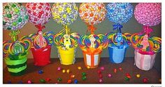 6 Yo Gabba Gabba inspired Lollipop Trees(custom made) Party Candy Buffet,Station,Centerpiece or gift
