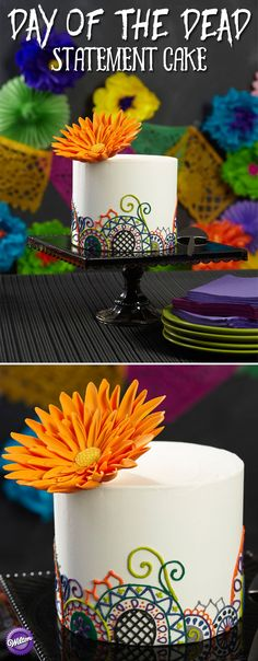 Brightly colored single daisy blooms above a field of scrolls, flowers and spider web vines, creating a cake design perfect for chic Halloween celebrations. The vivid colors are easy to mix using the Color Right Performance Color System.
