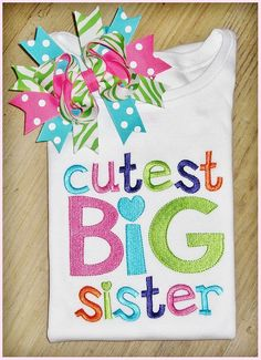 Olive Loves Apple Promoted to Big Sister Sibling Announcement Colored Shirts for Baby and Toddler Girls Sibling Outfits