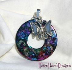 MultiColored Washer Pendant With Butterfly Charm