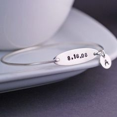 Personalized Date Bracelet with Initial Charm by georgiedesigns