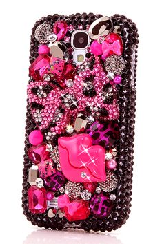 Pink Leopard Bow & lips design cool Samsung Galaxy s4 cases wallets phone cover for fashion