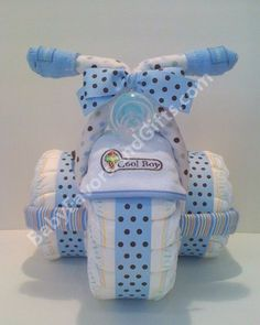 Diaper Cakes For Boys | Tricycle Diaper Cake Blue For Boy | Unique diaper cakes
