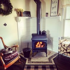 Wood Stove Surround, Wood Stove Hearth, Stove Fireplace, Wood Fireplace, Wood Burner, Fireplaces, Wood Burning Stove Corner, Corner Stove, Corner Mantle