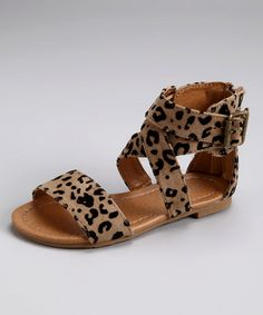 Take a look at this Camel & Black Leopard Kalisa Gladiator Sandal by Link on #zulily today!