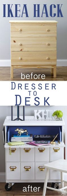 IKEA Hack: Tarva Dresser into a Rolling Desk.  Good tutorial, lots of pix.  Could use this as nightstands, too.