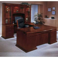 Bow Front U-Shape Desk with Left Return and Hutch