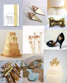 Gold Glitter Wedding Inspiration Board