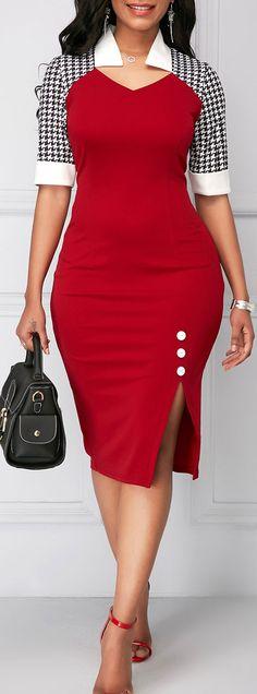 Button Detail Side Slit Sheath Dress.#Rosewe#dress#womensfashion#work