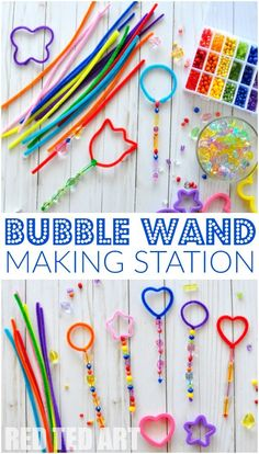 "Crafts Ideas Bubble Wand Making Station - This is how EASY it is to set up a ""Bubble Wand Making station"". Let the kids get creative and see what they come up with. Great activity for of July, Play Dates or for those loooong Summer afternoons. Bubble Activities, Summer Activities For Kids, Toddler Activities, Preschool Activities, Bubble Games For Kids, Kids Outdoor Activities, Science Games For Kids, Summer Preschool Themes, Nanny Activities"