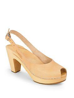 swedish hasbeens Peep-Toe Slingback Sandals