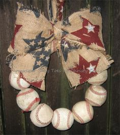 Patterned or Sparkle Burlap Baseball Love Wreath with Bow