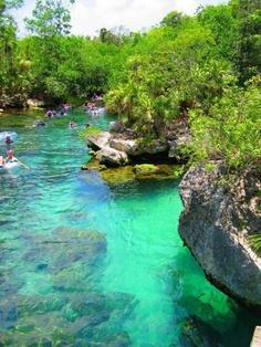 Tubing in Cancun, Mexico in a beautiful cenote.