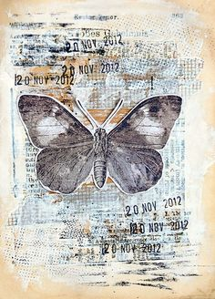 CRAFTLANDIA - crosshatch backgrounds, date stamps, butterfly drawing