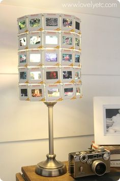 DIY Lampshade made of vintage slides.  Love how the light shines through the slides when the lamp is on.
