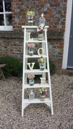 Vintage Wooden Step Ladder Wedding Prop Decoration